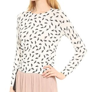Band of Outsiders Printed Bunny Wool Sweater Top